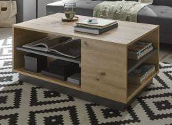 Couchtisch Louna in Eiche Artisan und Graphit grau Wohnzimmer Beistelltisch 100 x 60 cm