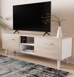 TV-Lowboard FD-Don in Sonoma Eiche und weiß TV Board skandinavisch 140 x 49 cm