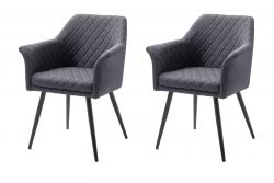2 x Stuhl mit Armlehne Covina in anthrazit 4-Fußstuhl mit Komfortsitzhöhe Esszimmerstuhl 2er Set