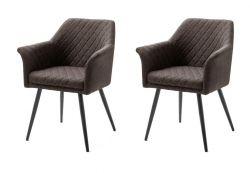 2 x Stuhl mit Armlehne Covina in braun 4-Fußstuhl mit Komfortsitzhöhe Esszimmerstuhl 2er Set