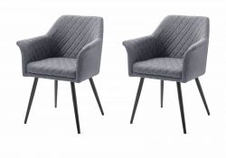 2 x Stuhl mit Armlehne Covina in grau 4-Fußstuhl mit Komfortsitzhöhe Esszimmerstuhl 2er Set