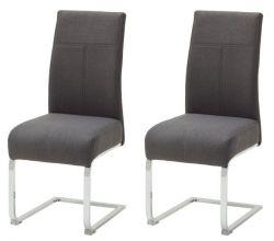 2 x Stuhl Foshan in anthrazit Freischwinger mit Komfortsitzhöhe und Aqua Resistant Stoffbezug Esszimmerstuhl 2er Set