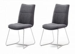 2 x Stuhl Hampton in Anthrazit Chenille-Optik und Edelstahl Kufengestell Esszimmerstuhl 2er Set mit Komfortsitzhöhe