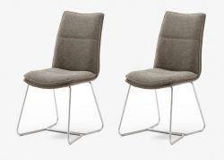 2 x Stuhl Hampton in Cappuccino Chenille-Optik und Edelstahl Kufengestell Esszimmerstuhl 2er Set mit Komfortsitzhöhe
