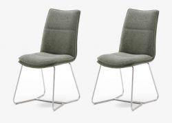 2 x Stuhl Hampton in Olive Chenille-Optik und Edelstahl Kufengestell Esszimmerstuhl 2er Set mit Komfortsitzhöhe