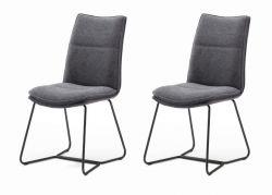 2 x Stuhl Hampton in Anthrazit Chenille-Optik und Kufengestell schwarz lackiert Esszimmerstuhl 2er Set mit Komfortsitzhöhe