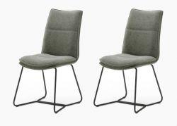 2 x Stuhl Hampton in Olive Chenille-Optik und Kufengestell schwarz lackiert Esszimmerstuhl 2er Set mit Komfortsitzhöhe