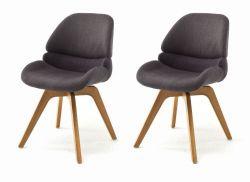 2 x Stuhl Henderson in anthrazit 4-Fußstuhl mit Eiche massiv Gestell Esszimmerstuhl drehbar 2er Set