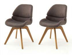 2 x Stuhl Henderson in Cappuccino 4-Fußstuhl mit Eiche massiv Gestell Esszimmerstuhl drehbar 2er Set