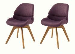 2 x Stuhl Henderson in merlot 4-Fußstuhl mit Eiche massiv Gestell Esszimmerstuhl drehbar 2er Set