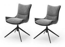 2 x Stuhl Kitami in Anthrazit Chenille-Optik 4-Fußstuhl 360° drehbar Esszimmerstuhl 2er Set