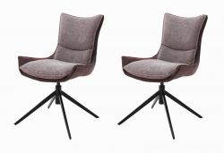 2 x Stuhl Kitami in rostbraun Chenille-Optik 4-Fußstuhl 360° drehbar Esszimmerstuhl 2er Set