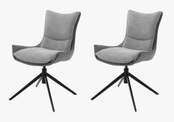 2 x Stuhl Kitami in Schlamm Chenille-Optik 4-Fußstuhl 360° drehbar Esszimmerstuhl 2er Set