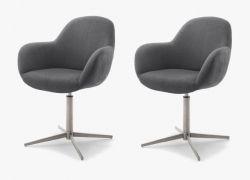 2 x Stuhl Melrose in anthrazit und Edelstahl Kreuzfußstuhl mit Armlehne 360° drehbar Esszimmerstuhl 2er Set mit Komfortsitzhöhe