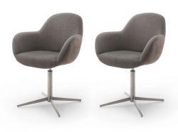 2 x Stuhl Melrose in cappuccino und Edelstahl Kreuzfußstuhl mit Armlehne 360° drehbar Esszimmerstuhl 2er Set mit Komfortsitzhöhe
