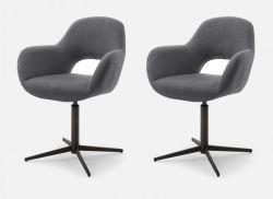 2 x Stuhl Melrose in anthrazit Kreuzfußstuhl mit Armlehne 360° drehbar Esszimmerstuhl 2er Set mit Komfortsitzhöhe