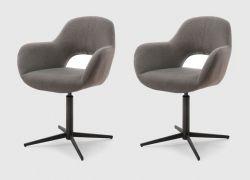 2 x Stuhl Melrose in cappuccino Kreuzfußstuhl mit Armlehne 360° drehbar Esszimmerstuhl 2er Set mit Komfortsitzhöhe