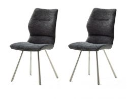 2 x Stuhl Orlando in anthrazit Chenille-Optik und Edelstahl 4-Fußstuhl Esszimmerstuhl 2er Set