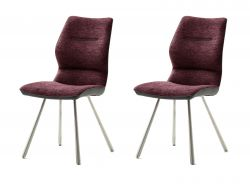2 x Stuhl Orlando in merlot Chenille-Optik und Edelstahl 4-Fußstuhl Esszimmerstuhl 2er Set