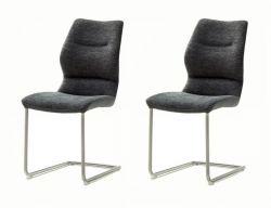 2 x Stuhl Orlando in anthrazit Chenille-Optik und Edelstahl Freischwinger Esszimmerstuhl 2er Set