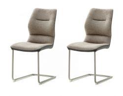 2 x Stuhl Orlando in cappuccino Chenille-Optik und Edelstahl Freischwinger Esszimmerstuhl 2er Set