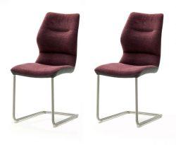 2 x Stuhl Orlando in merlot Chenille-Optik und Edelstahl Freischwinger Esszimmerstuhl 2er Set
