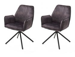 2 x Stuhl Ottawa in anthrazit Vintage Velours-Optik mit Armlehne Esszimmerstuhl 2er Set mit Komfortsitzhöhe