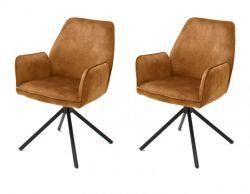 2 x Stuhl Ottawa in curry Vintage Velours-Optik mit Armlehne Esszimmerstuhl 2er Set mit Komfortsitzhöhe