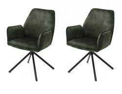 2 x Stuhl Ottawa in olive Vintage Velours-Optik mit Armlehne Esszimmerstuhl 2er Set mit Komfortsitzhöhe