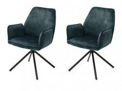 2 x Stuhl Ottawa in petrol Vintage Velours-Optik mit Armlehne Esszimmerstuhl 2er Set mit Komfortsitzhöhe