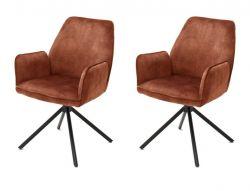 2 x Stuhl Ottawa in rostbraun Vintage Velours-Optik mit Armlehne Esszimmerstuhl 2er Set mit Komfortsitzhöhe
