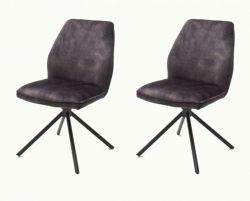 2 x Stuhl Ottawa in anthrazit Vintage Velours-Optik Esszimmerstuhl 2er Set mit Komfortsitzhöhe