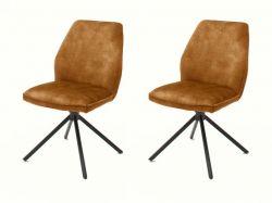 2 x Stuhl Ottawa in curry Vintage Velours-Optik Esszimmerstuhl 2er Set mit Komfortsitzhöhe