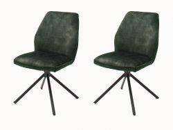 2 x Stuhl Ottawa in olive Vintage Velours-Optik Esszimmerstuhl 2er Set mit Komfortsitzhöhe