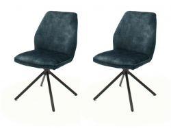 2 x Stuhl Ottawa in petrol Vintage Velours-Optik Esszimmerstuhl 2er Set mit Komfortsitzhöhe