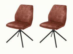 2 x Stuhl Ottawa in rostbraun Vintage Velours-Optik Esszimmerstuhl 2er Set mit Komfortsitzhöhe