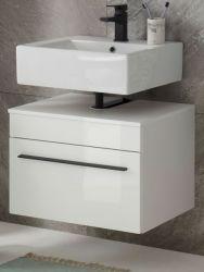 Waschbeckenunterschrank Design-D in weiß Hochglanz Badschrank hängend 60 x 44 cm