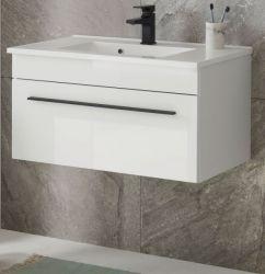 Waschbeckenunterschrank MIT Waschbecken Design-D in weiß Hochglanz Waschtisch Set hängend 80 x 43 cm