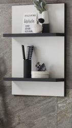 Badezimmer Hängeregal Design-D in weiß und schwarz Wandregal 40 x 62 cm Regal hängend