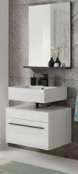 Badmöbel Set Design-D in weiß Hochglanz und schwarz Badkombination 2-tlg. Waschbeckenunterschrank und Spiegel 60 x 200 cm