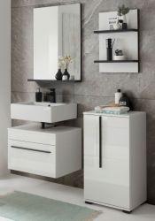 Badmöbel Set Design-D in weiß Hochglanz und schwarz Badkombination 4-teilig 115 x 200 cm