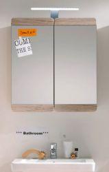 Spiegelschrank Malea Badezimmerschrank Eiche San Remo hell 65 x 70 x 15 cm