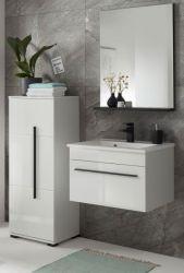 Badmöbel Set Design-D in weiß Hochglanz und schwarz Badkombination MIT Waschbecken 115 x 200 cm