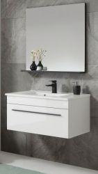 Badmöbel Set Design-D in weiß Hochglanz und schwarz Badkombination MIT Waschbecken 80 x 200 cm