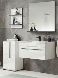 Badmöbel Set Design-D in weiß Hochglanz und schwarz Badkombination MIT Waschbecken 135 x 200 cm