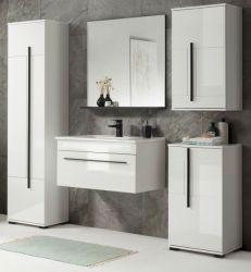 Badmöbel Set Design-D in weiß Hochglanz und schwarz Badkombination MIT Waschbecken 190 x 200 cm