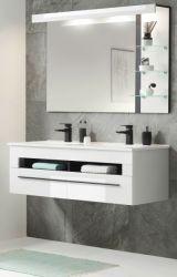 Badmöbel Set Design-D in weiß Hochglanz und schwarz Badkombination MIT Doppelwaschbecken und LED Beleuchtung 120 x 200 cm