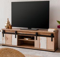 TV-Lowboard Marrakesch in Eiche Valhalla und Milford Kiefer TV-Board mit wendbaren Schiebetüren 160 cm