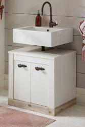 Waschbeckenunterschrank Rovola in Pinie weiß / Oslo Pinie Landhaus Badezimmer Unterschrank 60 cm