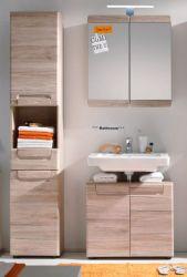 Badmöbel Set Malea 3-teilig in Eiche San Remo hell mit Spiegelschrank, Waschbeckenunterschrank und Hochschrank